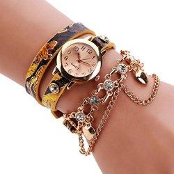Axchongery Womans Watch Cute Serpentine Wrap Around Watchc Rhinestone Wristwatch With Rivet Chain Yellow