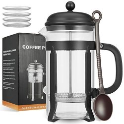 MeetU French Press Coffee Maker With 4 Filters 34 Ounce Fda 304 Stainless Steel Bpa-free Borosilicate Glass Carafe Tea Maker