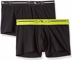 Evolve Men's Cotton Stretch No Show Trunk Underwear Multipack Black Large