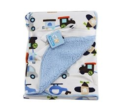 VS Affiliates Snugly Baby Deluxe Sherpa Plush Blanket Blue