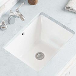 Mr Direct U1611-W White Undermount Porcelain Bathroom Sink