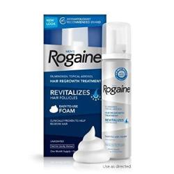 Rogaine For Men Hair Regrowth Treatment 5% Minoxidil Topical Aerosol Easy-to-use Foam 2.11 Oz Unscented 1 Month Supply