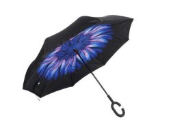 Reversible Umbrella With Design - Blue Daisy