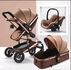 BABY Pram Stroller - 3 Function Foldable Pram With Car Seat- Khaki Chocolate