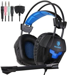 Sades SA921 PS4 Gaming Headset PC 3.5MM Wired Stereo Computer Headphones With Microphone Flexible Volume Control Light Weight Ov