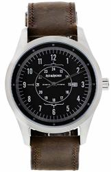 Aviator Watch Stainless Steel Case And Leather Band For Men Free Leather Wallet With Purchase Made In The Usa - Silver brown