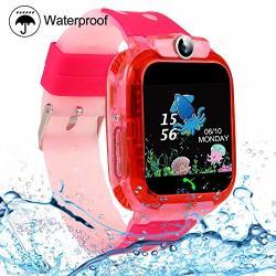 KIDS Smartwatches Szbxd Waterproof Lbs gps Tracker Phone Sos Touchscreen Smartwatch Games Clock Smart Watch Christmas Birthday Gifts For School Boy Girls Pink
