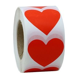 """Hybsk Red Color Coding Dot Labels 1.5"""" Love Heart Shape Natural Paper Stickers Adhesive Label 500 Per Roll 1 Roll"""