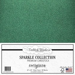 "Celloglass Mirrisparkle Evergreen Glitter Cardstock Paper 12"" X 12""- 16 PT 280GSM - 10 Sheets From Cardstock Warehouse"