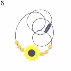 Preliked Safe Lovely Sunflower Beads Silicone Pendant Necklace Chewing Teether Toy For Infant Baby