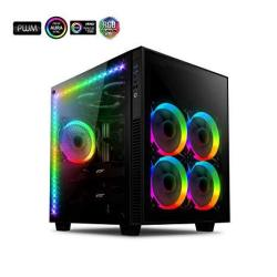 Anidees Ai Crystal Cube Ar V3 Dual Chamber Tempered Glass Eatx atx PC Gaming Case With 5 Rgb Pwm Fans 2 LED Strips -