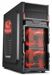 Sharkoon VG5-W Midi Tower PC Gaming Case Red with Window