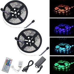 Rowrun 10M 32.8 Ft LED Strip Lights 300 Leds Smd 5050 Rgb With 44-KEY Ir Controller Waterproof Christmas Holiday Indoor Party Home Kitchen Car Bar Decoration