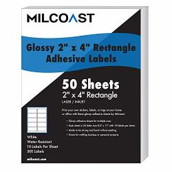 """Milcoast Glossy Adhesive 2"""" X 4"""" Rectangle Shaped Labels - For Laser inkjet Printers - 500 Labels 50 Sheets"""