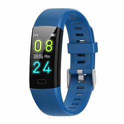 Elecfan Smart Bracelet For Kids Automatic Heart Rate Test Alarm Clock Remind Smart Watch Waterproof Remote Mobile Phone Camera Sports Mode Fitness Tracking Table Blue