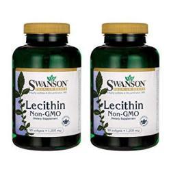 Swanson Lecithin Non-gmo 1200 Milligrams 90 Sgels 2 Pack