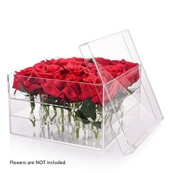 Wefond Clear Acrylic Flower Box Water Holder Vase Decorative Square Rose Pot Wedding Flower Gift Box Makeup Organizer 25 Holes Prices Shop Deals Online Pricecheck