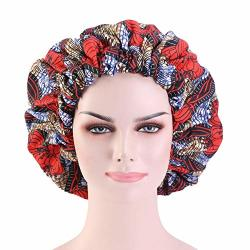 Cccho Colourful Extra Large Turbans Double Layered Sleep Bonnet Satin Liner Hat Elastic Band Beanie African Hair Wrap Shower Cap Red