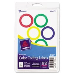 """Avery 05497 Printable Removable Color-coding Labels 1 1 4"""" Dia Neon Red 400 PACK"""