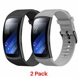 Junboer Compatible Gear FIT2 PRO FIT2 Watch Band Replacement Silicone Watch Strap For Gear FIT2 Pro Smartwatch Bands 2-PACK Black gray Large