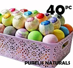Purelis Bath Bombs Gift Baskets For Women Basket Of 40 Moisturizing Spa Fizzers Lush Bombs 40 Unique Organic Bath Bombs Set. Lux