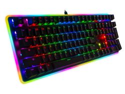 HUOGUOYIN Gaming Keyboard Mechanical Gaming Keyboard LED Backlit 104 Keys Anti-Ghosting Macro Keys Blue Switches for Gamers Keyboard