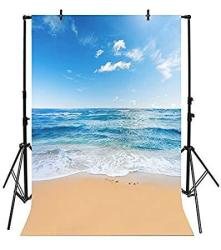 Yeele 6X8FT Seaside Beach Photo Backdrops Vinyl Blue Sky And White Clouds Clear Day Photography Background Summer Sea Sea Holiday Studio Props