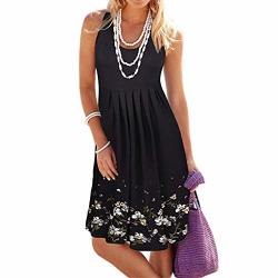 Seaintheson Women Dress Womens Halter Neck Boho Print Short Sundress Summer Sleeveless Casual MINI Beachwear Dress
