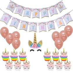 Unicorn Cake Toppers Happy Birthday Unicorn Birthday Party Bunting Banner,Rainbow Cupcake Wrappers and Rose Gold Balloon Kit,Birthday Party Favors Decorations Kit Unicorn Party Supplies