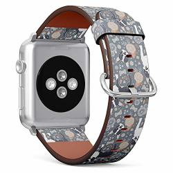 Compatible With Apple Watch 38 40MM Small - Replacement Accessory Leather Band Strap Bracelet Wristbands With Adapters Boston Terrier Beautiful Flowers