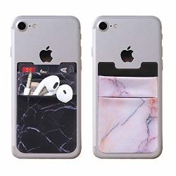 2PCS Clarkcas Stretchy Marble Card Pocket Credit Card Holder Cell Phone Stick On Wallet Universal For Iphone Samsung Huawei Smart Phones Black+light Pink