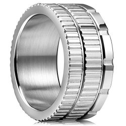King Will 10.6MM 316 Stainless Steel Wedding Band Ring With Sawtooth Pattern Curved In Base&inner Surface Matte 12