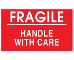 Ace Label-OP Ace Label Preprinted Fragile Shipping Label 5 X 3 Inches Red Roll Of 500 53018F