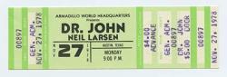 USA Dr. John Ticket Neil Larsen 1978 Nov 27 Austin Tx Unused