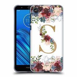 Official Nature Magick Letter S Flowers Monogram Floral Gold 2 Soft Gel Case Compatible For Motorola Moto E6