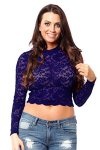 Long Sleeve Lace Mock Neck Crop Top Small Navy Blue