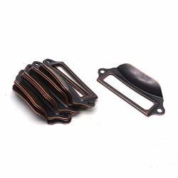 Antrader 10PCS Antique Iron 2-3 4 Inch X 1-1 5 Inch Tag Label Card Holder Office Drawer Pull Handle Copper Tone