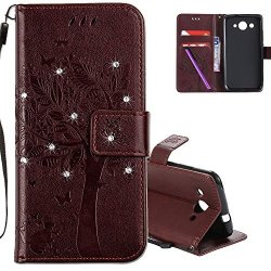 Hmtech Huawei Y3 2017 Case 3D Crystal Embossed Love Tree Cat Butterfly Handmade Bling Pu Flip Stand Card Holders Wallet Cover Fo
