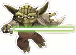 WiggleWigal LC 6 Inch Clone Wars Yoda Decal Jedi Master Knight Rebel Alliance Force Star Wars Classic Episode V Empire Strikes Back Removable Wall Sticker Art