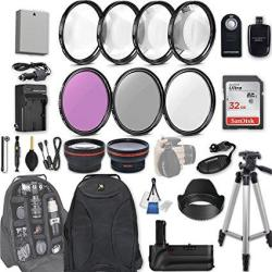 58MM 28 PC Accessory Kit For Canon Eos Rebel T3I T5I 300D 700D Dslrs With  0 43X Wide Angle Lens 2 2X Telephoto Lens Battery Grip | R | Digital Camera
