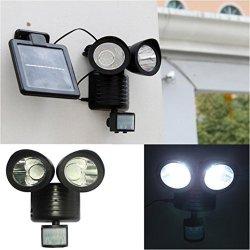Kanzd Dual Security Detector Solar Spot Light Motion Sensor Outdoor 22 LED Floodlight Black