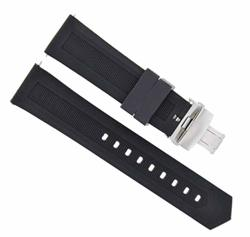 20MM Rubber Watch Band Strap For Tag Heuer Aquaracer Deployment Clasp Black