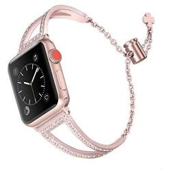Secbolt Bling Bands Compatible Apple Watch Iwatch Band Series 4 44MM Series 3 2 1 42MM Women Stainless Steel Metal Jewelry Brace