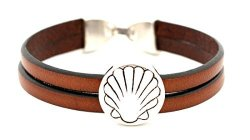J B Leather-metal Bracelet Melide With A Large Scallop