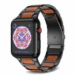 Notocity Compatible With Apple Watch Band 38MM 40MM Stainless Steel Natural Wooden Red Sandalwood Watch Strap For Men Women Black