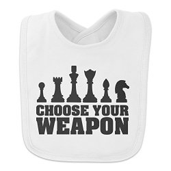 Choose Your Weapon Chess Pawn Rook Knight King Queen Baby Bib