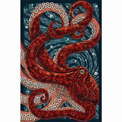 Diy 3D Diamond Painting Rhinestone Kit Mosaic Painting 19.7X27.6INCH Marine Animal Octopus Frameless