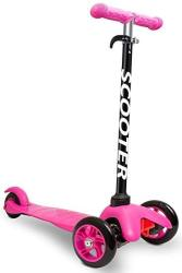 Den Haven Scooter For Kids - Deluxe Aluminum 3 Wheel Glider With Kick N Go Lean 2 Turn Step 4 Brake-pink Pink