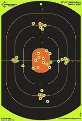 Splatterburst Targets - 12 X 18 Inch Bullseye Reactive Shooting Target - Shots Burst Bright Fluorescent Yellow Upon Impact - Gun