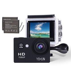 YELIN 1080P Full HD 2.0 Inch Lcd Screen Waterproof Sports Action Camera Cam Dv 5MP Dvr Helmet Camera Sports Dv Camcorder+extra 1 Batteries